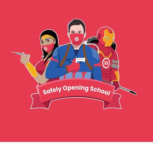 Superhero brand with the title 'SOS Program illustration design '