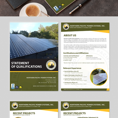 Revamp an outdated statement of qualifications for a growing solar energy company