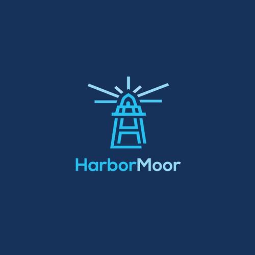 Marina logo with the title 'HarborMoor'