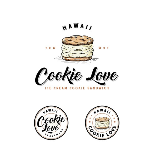 Sandwich shop logo with the title 'Hawaii Cookie Love'