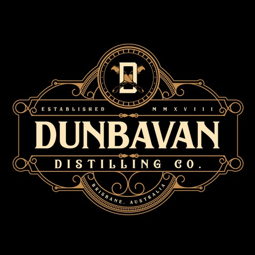Baroque logo with the title 'Rum Distillery Logo for Dunbavan Distilling Co.'