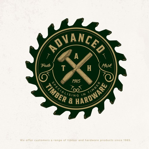 Wood logo with the title 'Advanced Timber & Hardware'