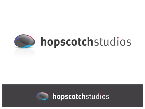 Gray and yellow logo with the title 'Hopscotch Studios'