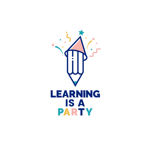 Birthday logo with the title 'Learning is a party'
