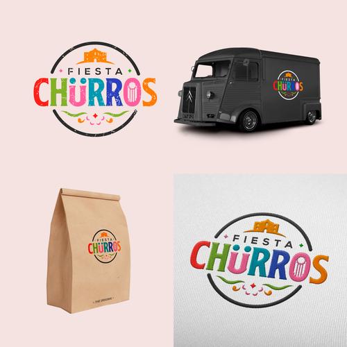 Churro logo with the title 'logo fiesta churros'