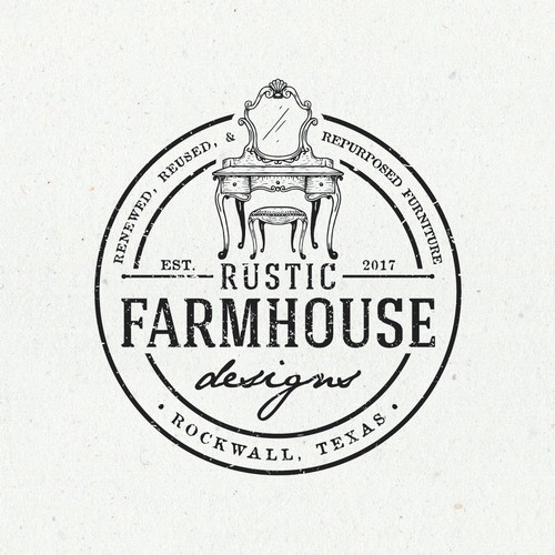 Chair design with the title 'Rustic Farmhouse Designs'