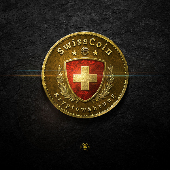 Medal logo with the title 'SwissCoin'
