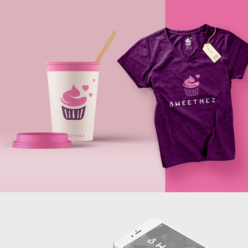 Purple and pink design with the title 'Nice logo for sweetnez homemade cookies'