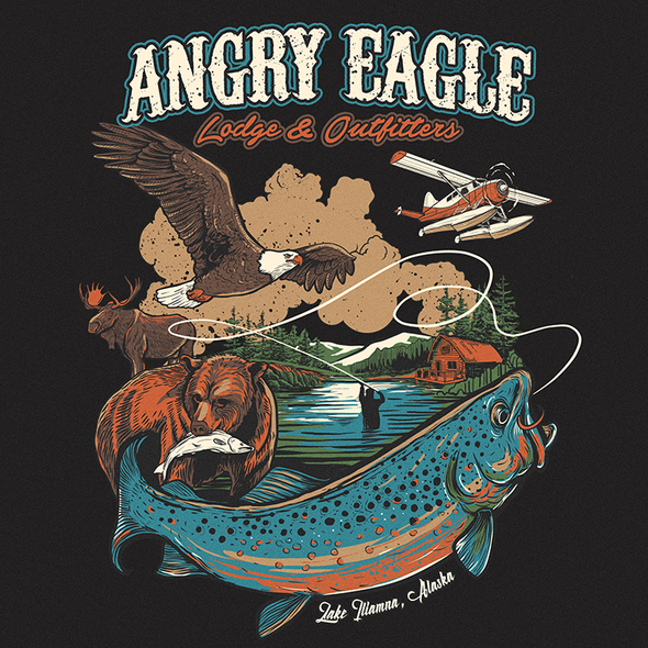 Fishing illustration with the title 'ANGRY EAGLE lodge & outfitters'