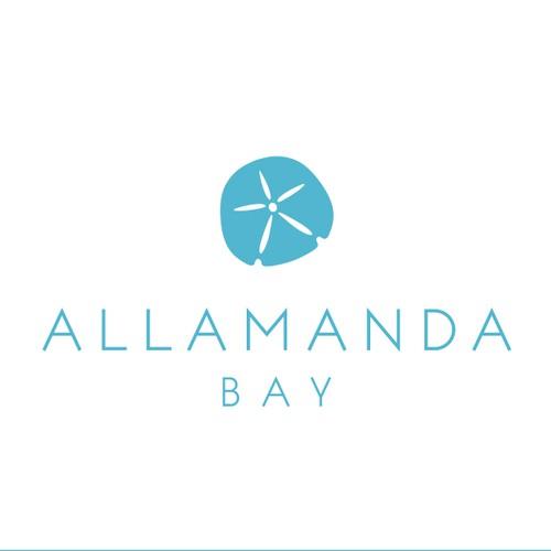 Beach resort logo with the title 'Allamanda Bay logo'