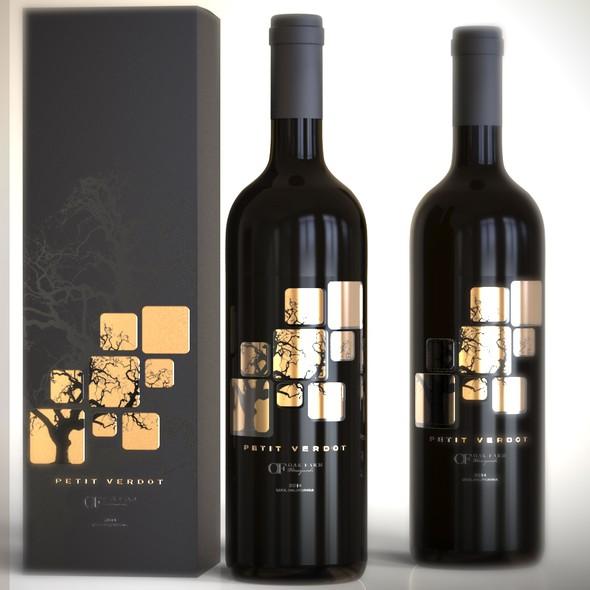 Grape label with the title 'Wine label design'