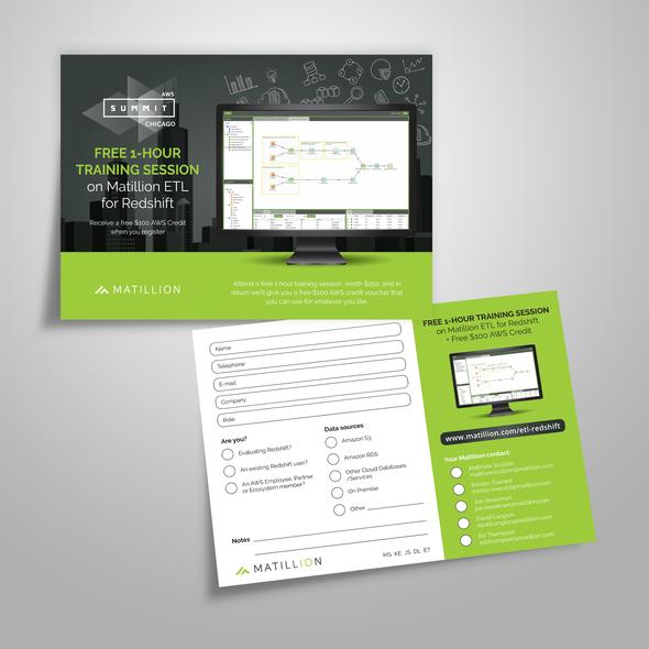 Voucher design with the title 'Postcard design for Matillion'