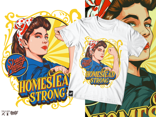 Pin-up design with the title 'HomeStead Strong'