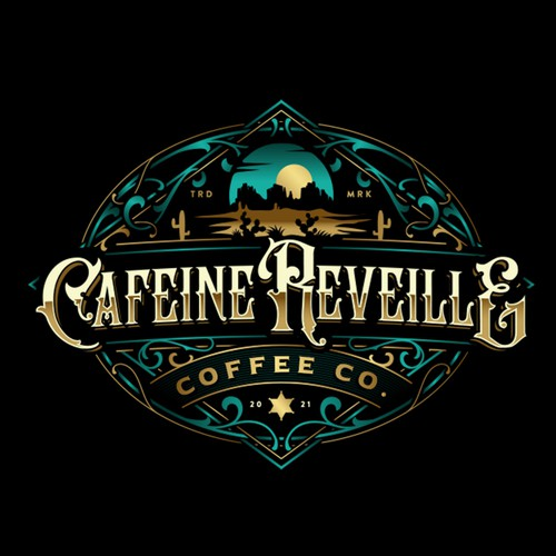 Logo with the title 'Cafeine Reveille'