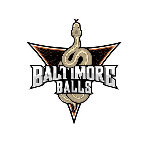 Reptile logo with the title 'Baltimore Ball Python Logo'