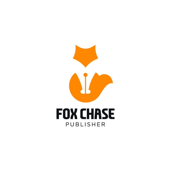 Fountain pen design with the title 'Negative space for Fox Chase Books.'