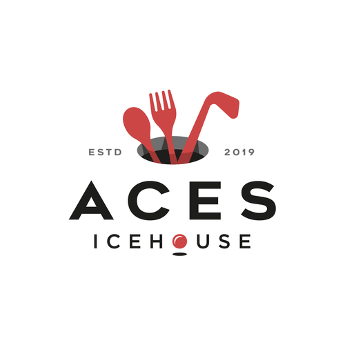 Golf course logo with the title 'Aces Icehouse'