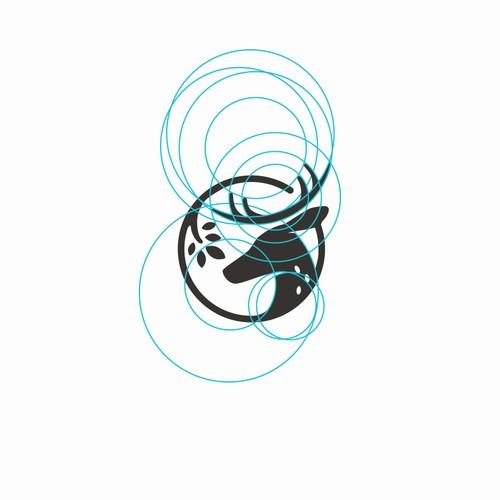 Geometric deer logo with the title 'logo design'