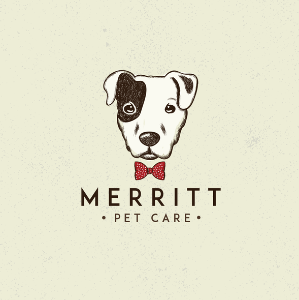 Bow tie design with the title 'logo design for a pet care company :)'