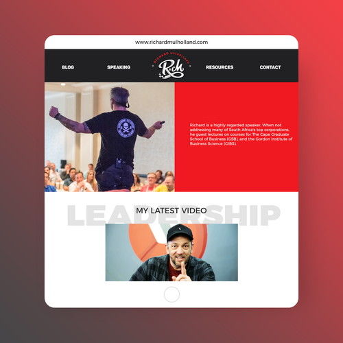 Personal website with the title 'Website design for a professional speaker'