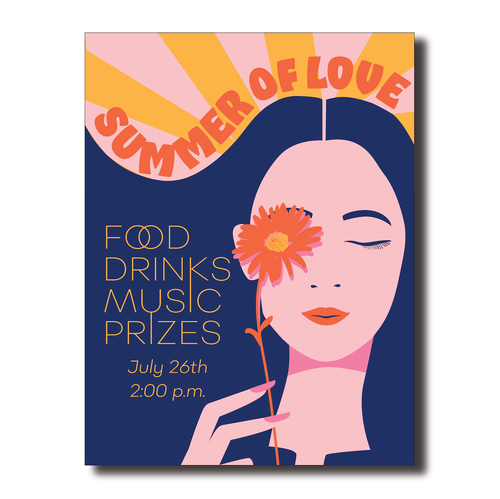 Summer design with the title 'Summer of Love invite poster'