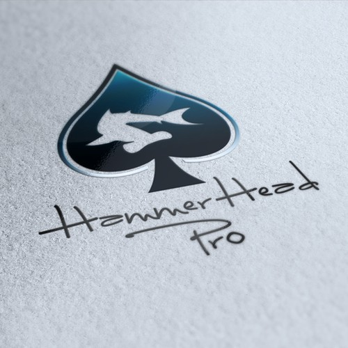 Poker chip logo with the title 'Logo Design for Hammerhead Pro'