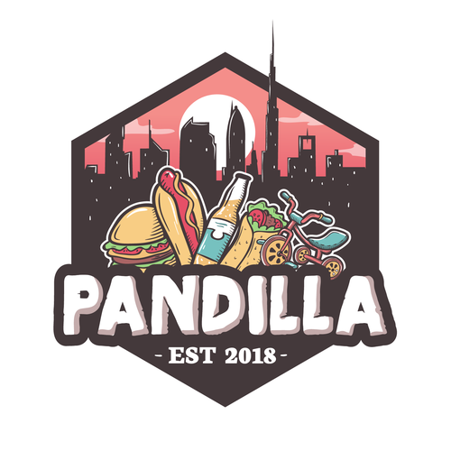 Sun and city logo with the title 'Pandilla logo'