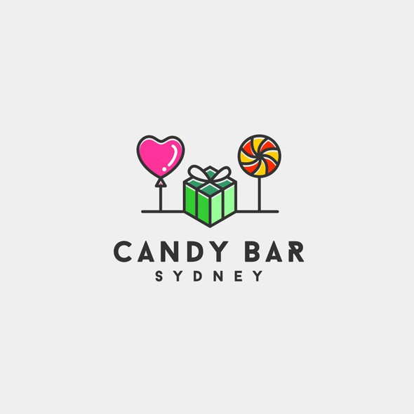 Lollipop logo with the title 'A logo design for confectionery and party supplies.'