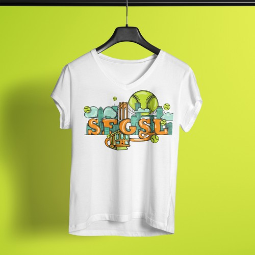 Cityscape design with the title 'Illustrated T-Shirt Design for SFGSL'