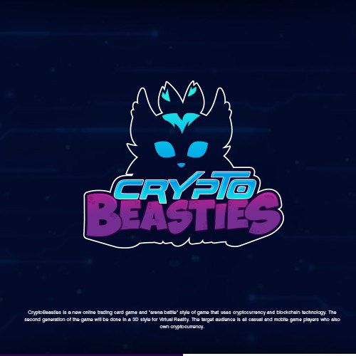 Card game design with the title 'Logo Design for CryptoBeasties'