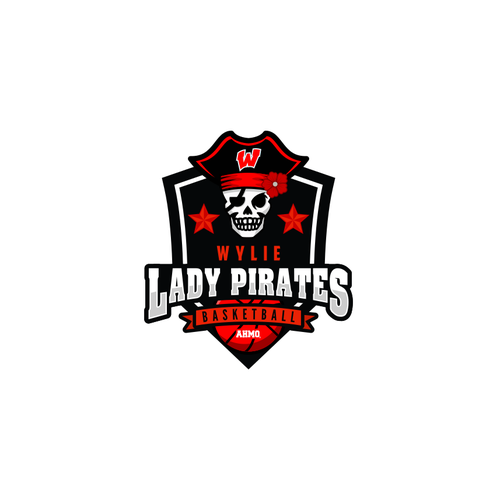 Basket logo with the title 'PIRATES BASKETBALL'