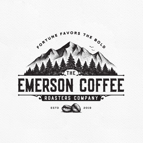 Pine tree design with the title 'Emerson Coffee'