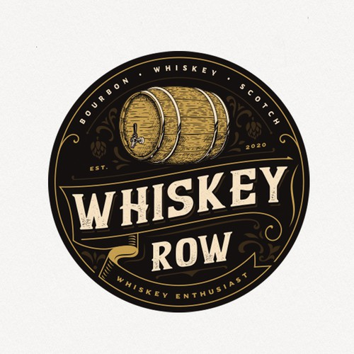Vintage logo with the title 'Whiskey Row'