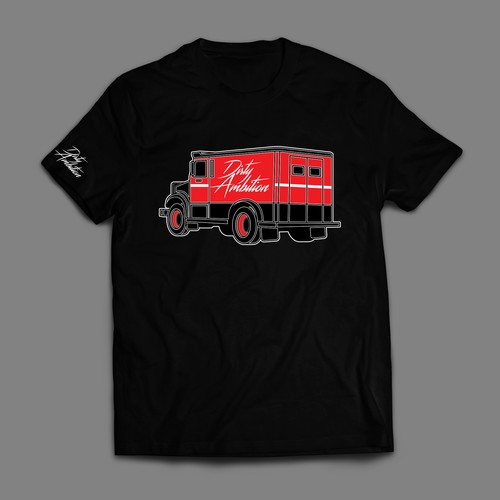 Truck t-shirt with the title 'a dope armored truck illustration for dirty ambition'