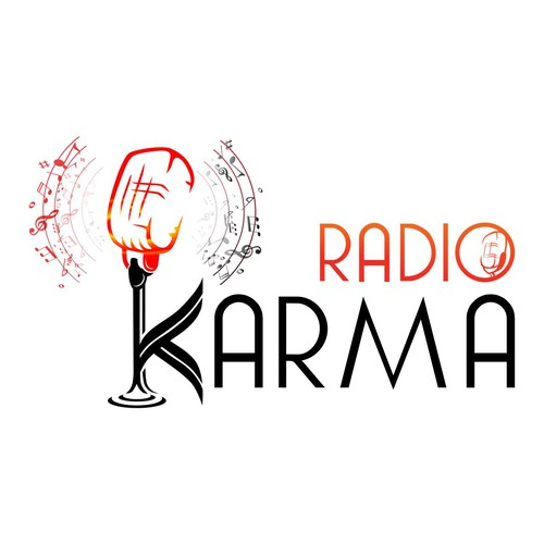 CorelDRAW design with the title 'Karma Radio'