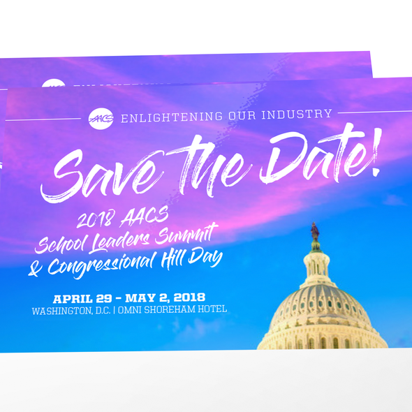 Save the date design with the title 'An eye-catching save-the-date postcard'