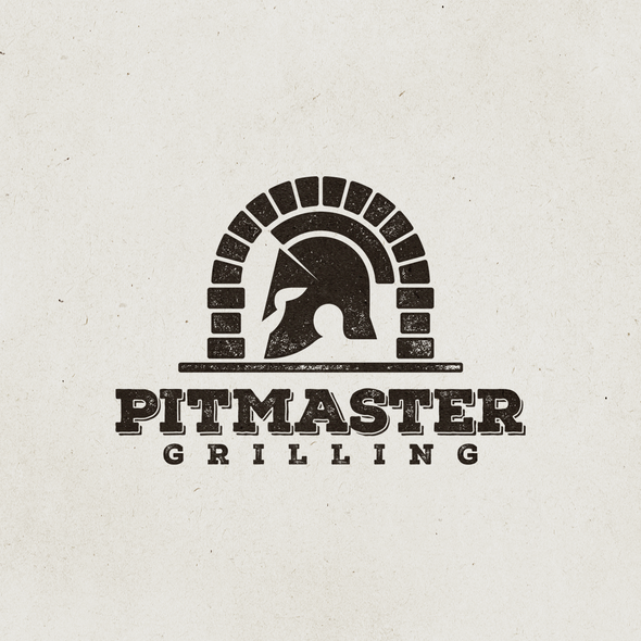 Spartan helmet logo with the title 'Logo design for Pitmaster Grilling'