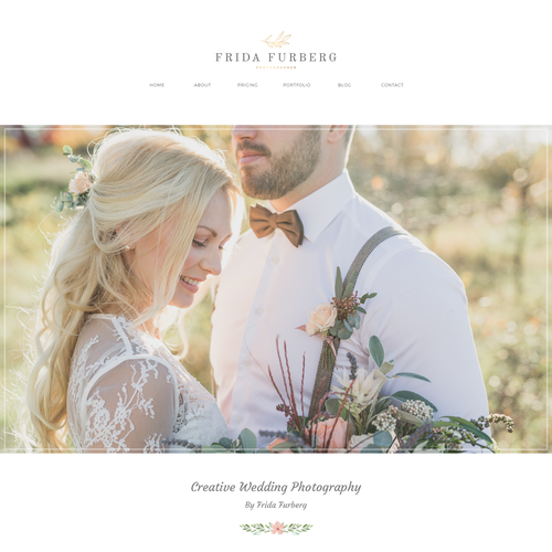 Classic website with the title 'Web design for Wedding Photographer'