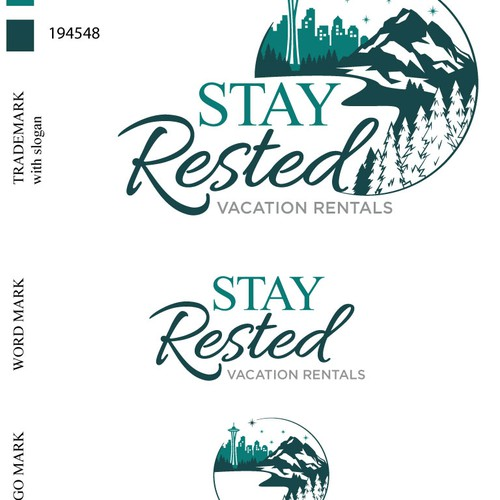 Cityscape logo with the title 'Stay Rested vacation rentals'