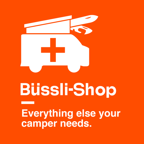 Helvetica design with the title 'Swiss Camper Van Accessory Shop'