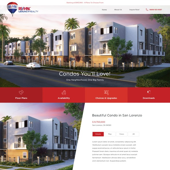Sleek website with the title 'Homepage design for RE/MAX Legacy Realty'