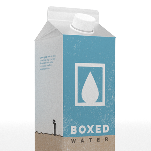 2-dimensional design with the title 'Water packaged Tetrapak Rex paper carton'