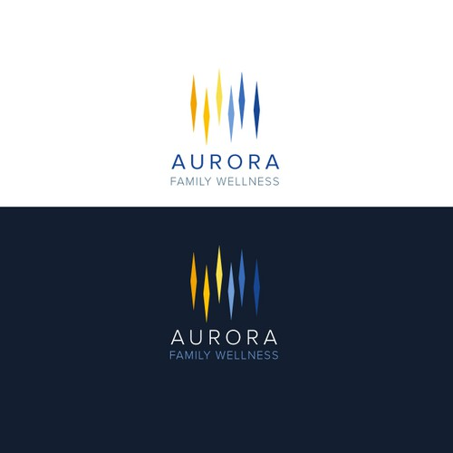 Northern lights design with the title 'Aurora Family Wellness'