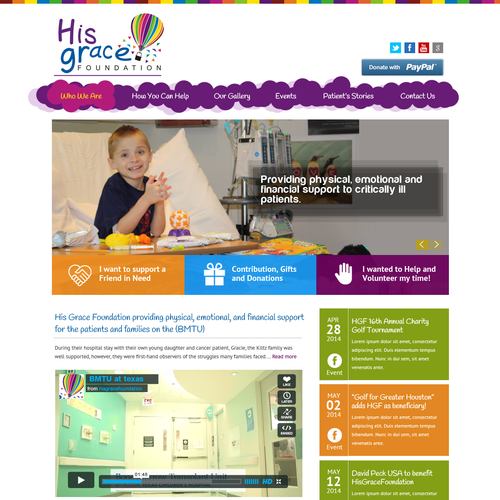 Nonprofit website with the title 'Create a whimsical, professional homepage for nonprofit serving critically ill children'