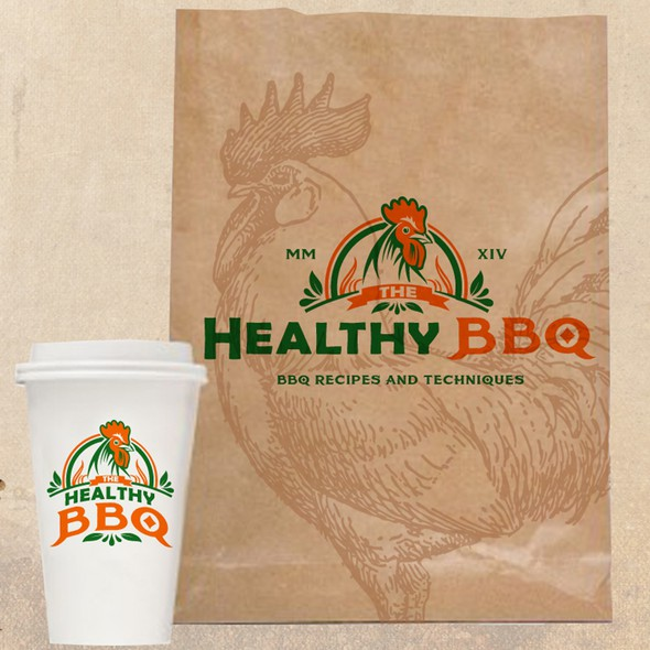 BBQ chicken logo with the title 'Classic BBQ Logo Needed.  Must be masculine and involve a chicken!'