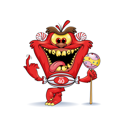 Concept art design with the title 'Crazy food monster-character design'