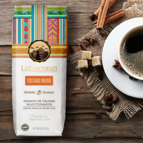 Shopping bag packaging with the title 'Ecuador coffee bag design'