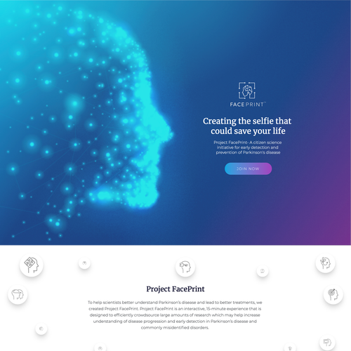 White and purple design with the title 'Parkinson's disease study website'