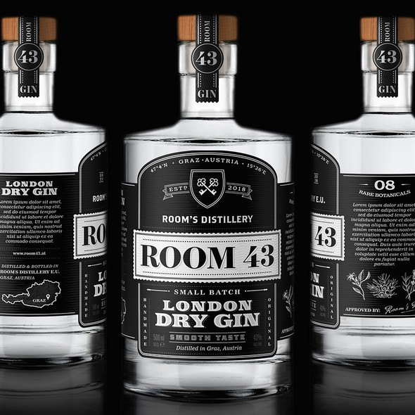 Small-batch design with the title 'Gin label design'