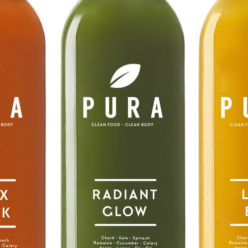Juice design with the title 'Pura'
